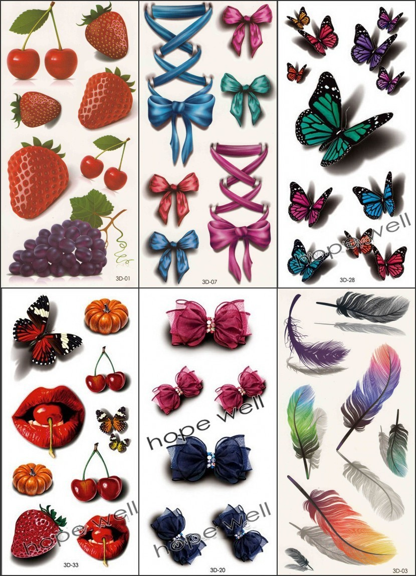 15 new 6pcs 3D Temporary Tattoo Sticker butterfly Tatuagem carton tatoo Colorful Bow Tie strawberry Body Art for kids women 1