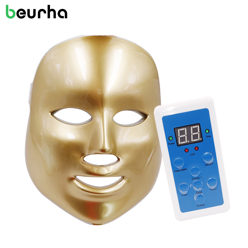 Beurha LED Facial Mask 7 Color LED Photon Facial Mask Wrinkle Acne Removal Beauty Spa Device Skin Rejuvenation White Facial Mask 180pcs inserts humpback crimp splice terminals piggyback terminators 22 10awg kit heat shrink electrical wire connectors set