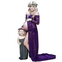 Maternity Dress Maternity Photography Props Purple Lace Sexy Maxi Dress Elegant Pregnancy Photo Shoot Women Maternity