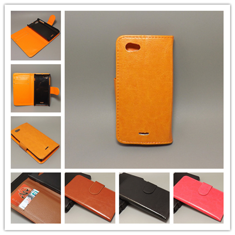 Crazy horse wallet case hold two Cards with 2 Card Holder and pouch slot For Sony Xperia J ST26I ST26a