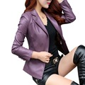 2017 New Spring and autumn female leather clothing slim outerwear fashion top short women leather jacket
