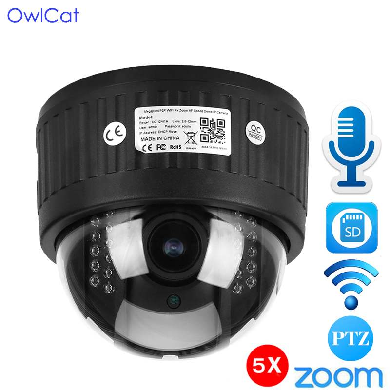 OwlCat 1080P Security Indoor Wirelesse Dome PTZ IP Camera CCTV 5X Zoom 2.7-13.5mm WiFi Audio Microphone SD Card IR Night Onvif owlcat hd 1080p dome ptz ip camera wifi 5x optical zoom audio microphone security cctv wifi camera sd slot ir night onvif2 4 p2p