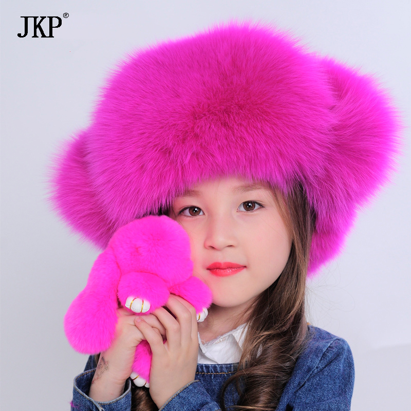 2018 New Russia fur hat Winter Boy Girl Real Fox Fur Hat Parent-child Children Earmuff warm kids Fur Hat Ear fox fur Hat cap denpal brand new fur hat style cloak fur hat real natural black mink fur hat for woman winter warm hat cap protection ear