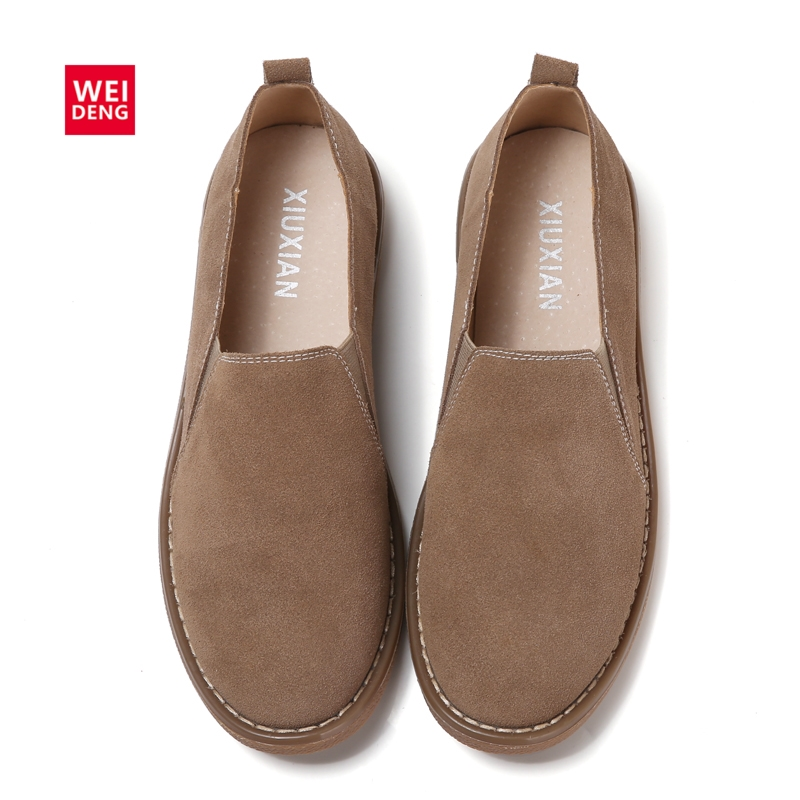 WeiDeng Cow Suede Genuine Leather Loafers Shoes Handmade Women Casual Boat Fashion Soft Footwear Flats Slip On Ladies Autumn zapatillas hombre 2017 fashion comfortable soft loafers genuine leather shoes men flats breathable casual footwear 2533408w