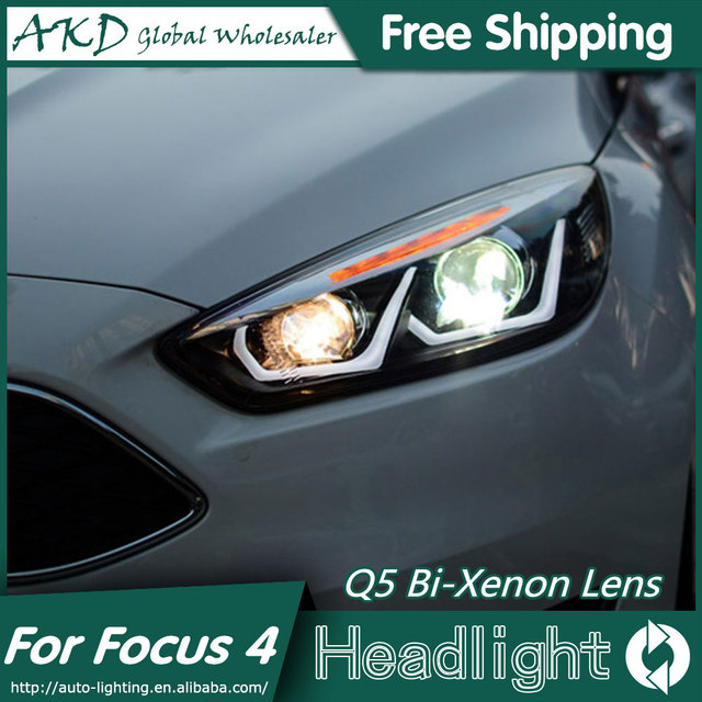 Akd Car Styling For Ford Focus Headlights 2017 New Led Headlight 4 Drl Bi
