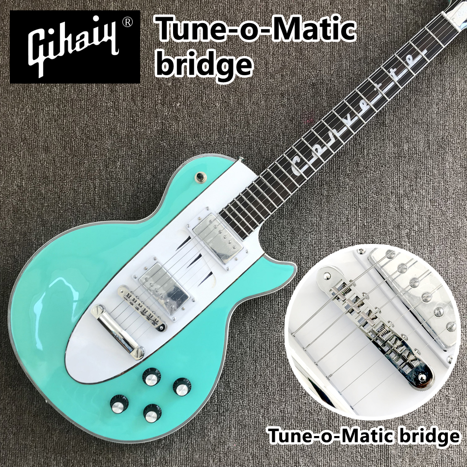 High quality hand-made electric guitar, Pink Green electric guitar with rosewood fingerboard Tune-o-Matic bridge, free shippingHigh quality hand-made electric guitar, Pink Green electric guitar with rosewood fingerboard Tune-o-Matic bridge, free shipping
