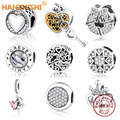 2019 New Authentic 925 Sterling Silver Charms Bead Fit Original Pandora Charms Bracelet Heart In Round Factory Price DIY Jewelry