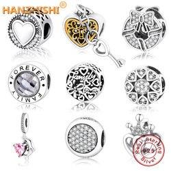 Chegam novas autêntico 925 prata esterlina charme caber pandora charme pulseira coração em redondo preço de fábrica diy jóias grânulo