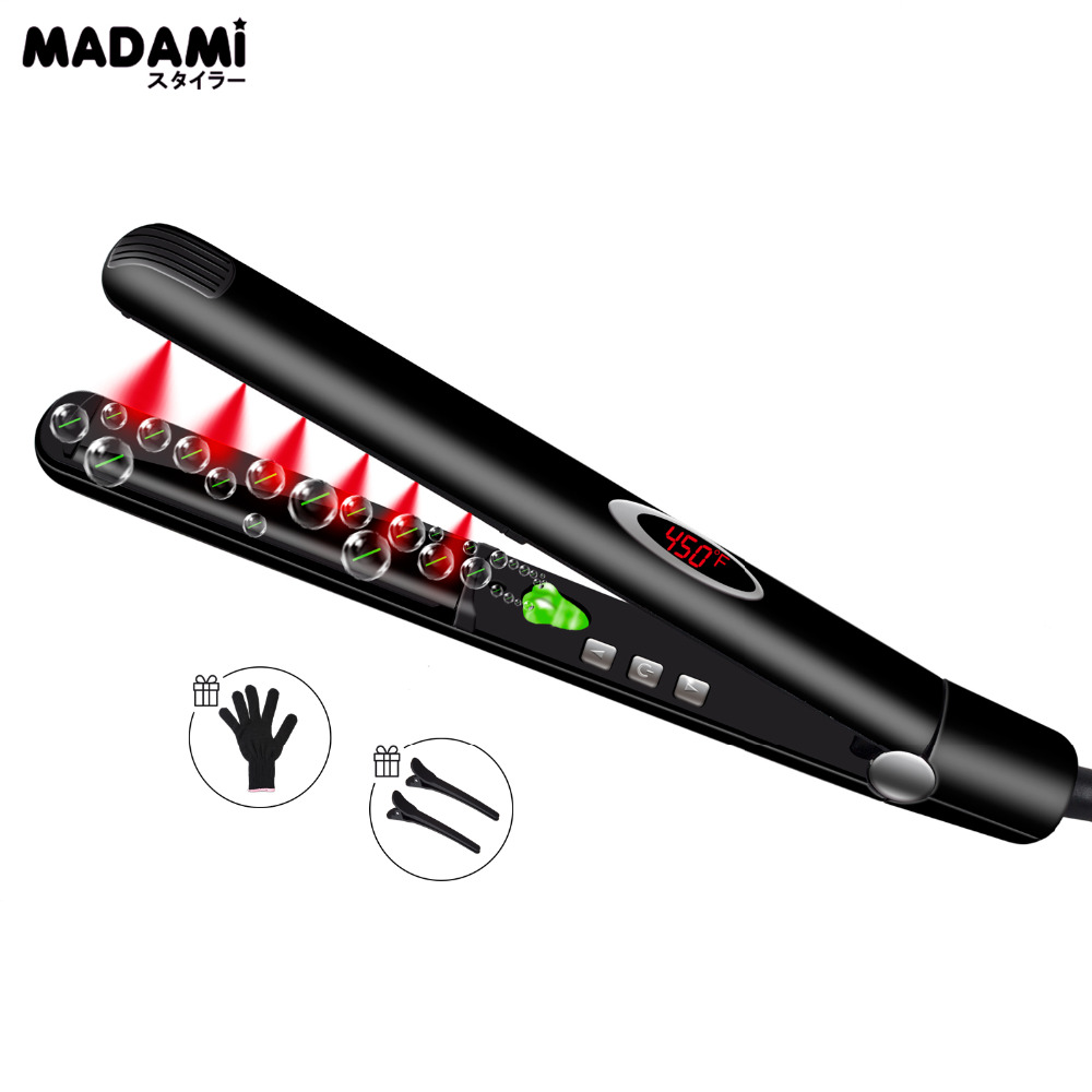 Madami Infrared Ions Ceramic Floating Plates Hair Straightener With LCD Display 110V-220V Dual Voltage Multi-function Flat Iron Выпрямитель