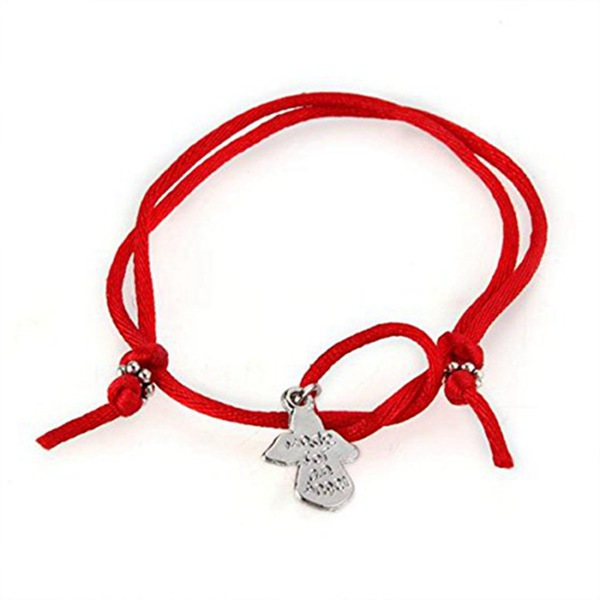 Guardian Angel Wish Red Cord Tibet Silver Bracelet CHIC