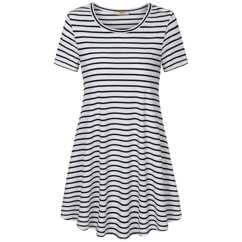 Timeson New Summer Dresses Short Sleeve Knitted Split T Shirt Dress Big Hem Female Casual Stretch Mini Dresses Black White Tunic timeson new summer t shirt dress sleeveless knitted tunic dress with pockets big hem female stretch mini solid plus size dresses