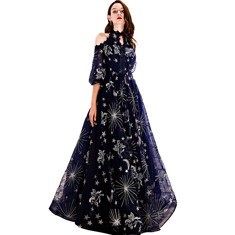 Elegant Sequined Evening Dresses 2019 Long For Women Plus Size A Line Wedding Party Prom Dresses Formal Women Dresses Long