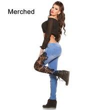 Merched Casual Lace Patchwork Jeans Women Sexy Hollow Out Leggings Denim Pantalon Femme 3XL Plus Size Capris Bottom Pencil Pants