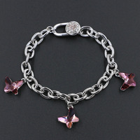 7mm Wide Link Chain Genuine Austrian Crystal Charm Butterfly Bracelet With Stellux Rhinestone Clasp For Women