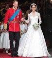 Vintage encaje de manga larga vestidos blanco satén Appliques tren largo V cuello de Kate Middleton de novia vestidos vestido de noiva