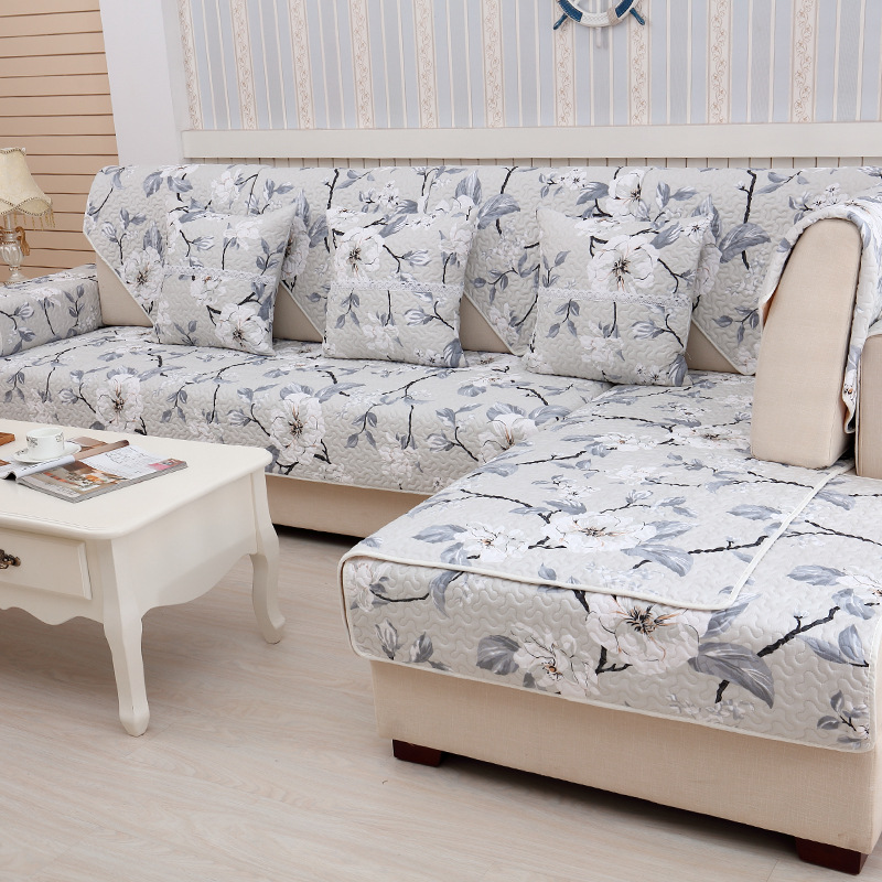 US $9.3 40% OFF|Nordic Flowers Sofa Cover Cotton Linen Non Slip Sofa Towel  Chair Covers Mats Living / Drawing Room Decorative L Shaped-in Sofa Cover  ...