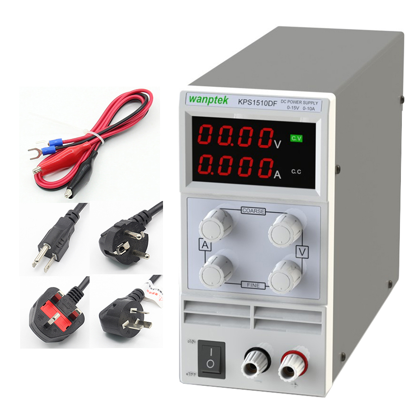 New KPS1510DF 15V10A 110V-230V 0.1V/0.001A EU LED Digital Adjustable Switch DC Power Supply mA display EU UK PLUG HOT SELL