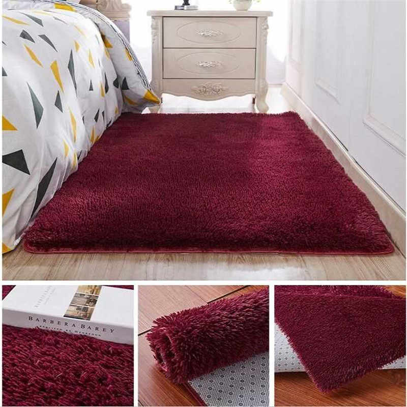 Engrossado lavado cabelo de seda antiderrapante tapete sala de estar mesa de café cobertor quarto tapete de cabeceira tapete de yoga tapetes de pelúcia cor sólida