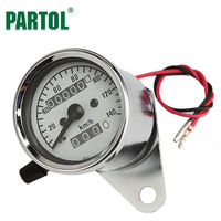 Partol Lightweight Portable Chrome Motorcycle Stainless Steel Circle Dual Speedometer Odometer Night Light For Honda