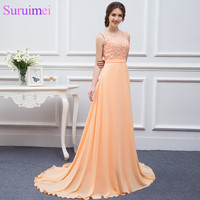 Free Shipping High Quality Nude Back Chiffon Lace Long Peach Color Bridesmaid Dress Brides Maid Dress