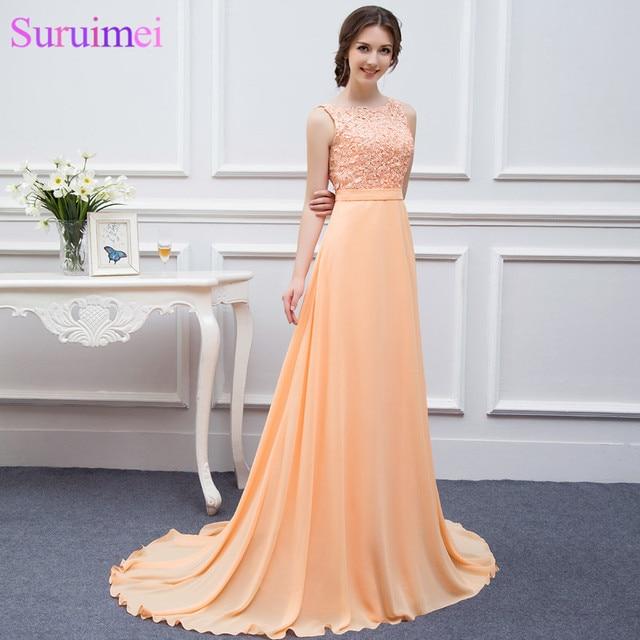High Quality Nude Back Chiffon Lace Long Peach Color Bridesmaid Dress Brides Maid