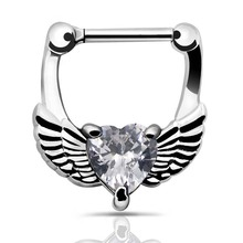 Septum clicker 1pc 316L Stainless Steel Septum Clicker Hinged Wings White CZ Nose Ring Gauges  Nose Ring Hoop