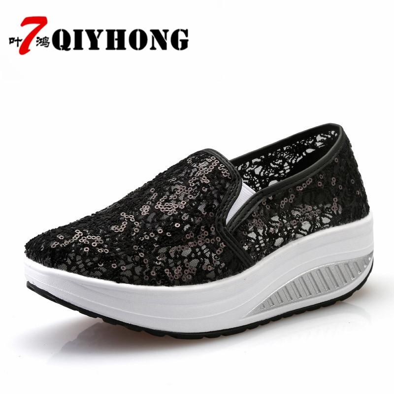 QIYHONG 2018 Sommer Frauen Flache Plattform Schuhe Frau Komfortable - Damenschuhe - Foto 2