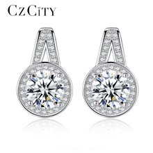 CZCITY Brand S925 Pure Sterling Silver Shining Zircon Wedding Engagement CZ Stud Earrings for Women Girl Fine Jewelry Gift
