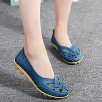 Plus Size 44 Genuine Leather Shoes For Women Flat Spring Summer Casual Mocassin Femme White Shoes Slip On Ballet Flats Women