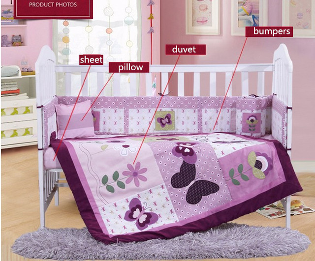 ae0c1838cda 7PCS embroidery purple baby bedding set newborn cot bumper infant baby bed  linen