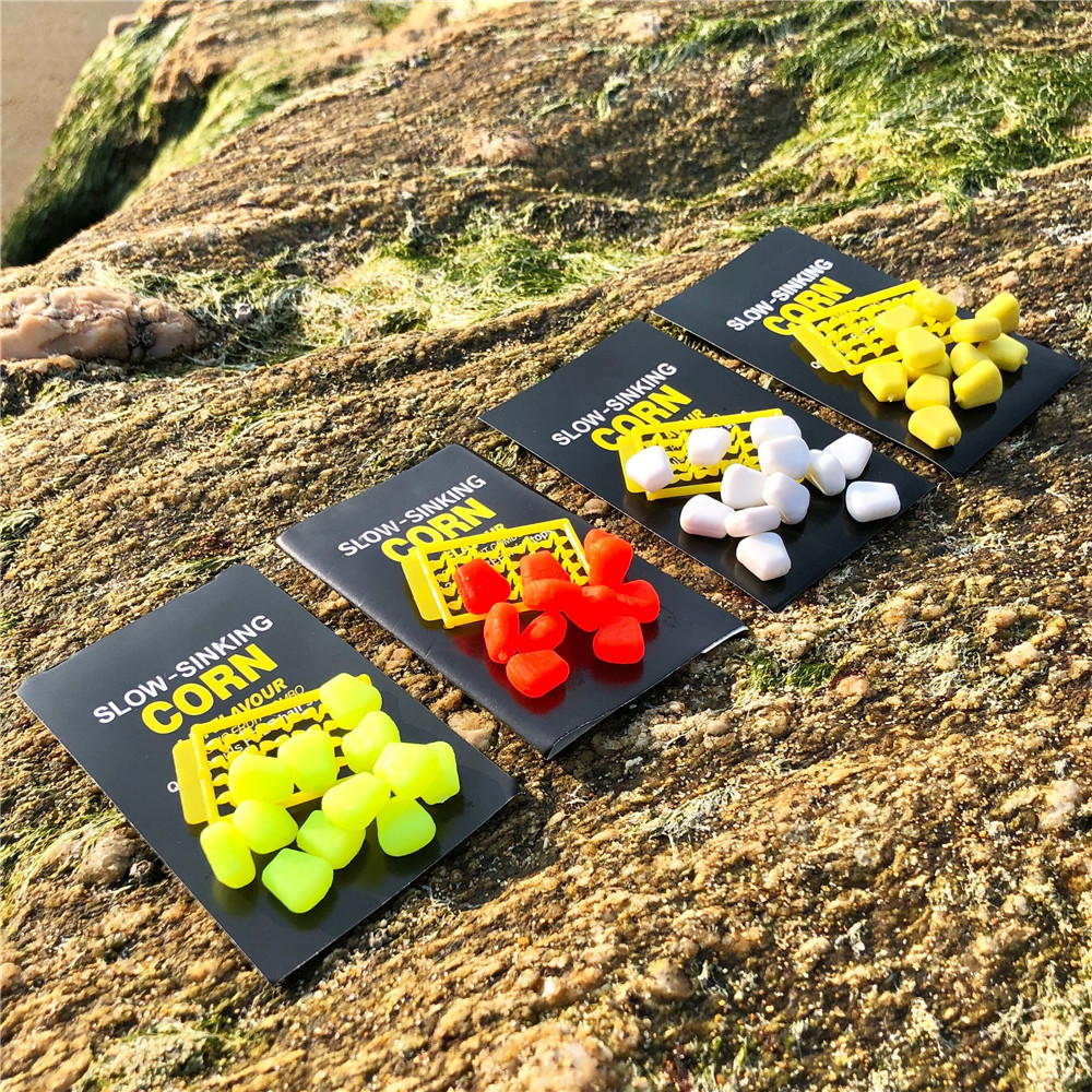 12pcs/pack 4 Colors Slow Sinking Corn Fake Food IB Flavour FOR CARP FISHING Free Hair Stops Dumbell Baits