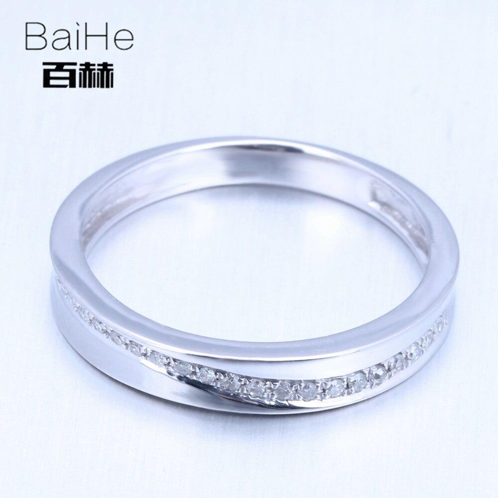 BAIHE Sterling Silver 925 0.15CT Certified H/SI Round cut 100% Genuine Natural Diamonds Wedding Women Trendy Elegant unique Ring
