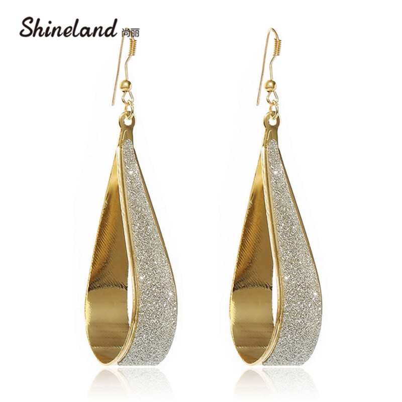 2018 Popular style personality branded design shiny geometric gold drop earrings cheap earring for women