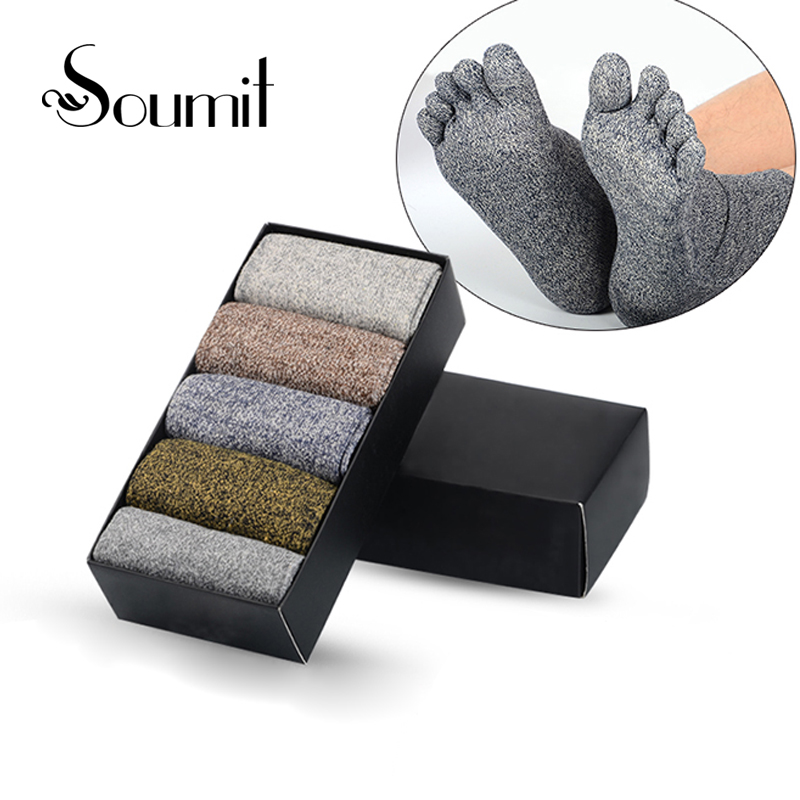 Soumit 5 Pairs Quality Pure Cotton Socks Heel Pads Five Finger Toes Short Insoles for Men Winter Warm Sox Insole mens five toes cotton socks pure breathable sports running finger socks