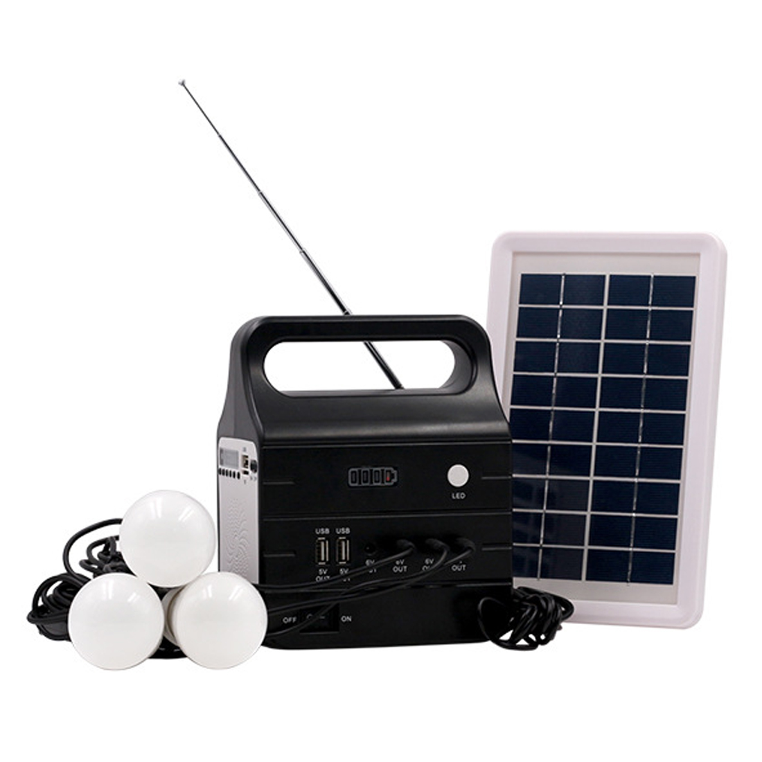 SOPATiO Portable Multifunctional Charger Solar Panel System Backup Power DIY Sun Power Solar Panel Kits For Yard/Caravan/Home