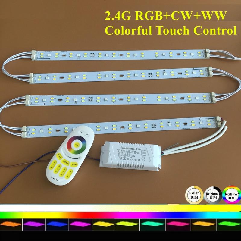 Lámpara de techo KINLAMS Iluminación de tira rígida LED con 2.4G Controlador de control remoto colorido RGB + Blanco cálido + Conjunto blanco Luces de barra LED