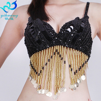 Women Belly Dance Costume Outift Top Bra Handmade Sequined Beaded Fringe 34 36 38 40 B