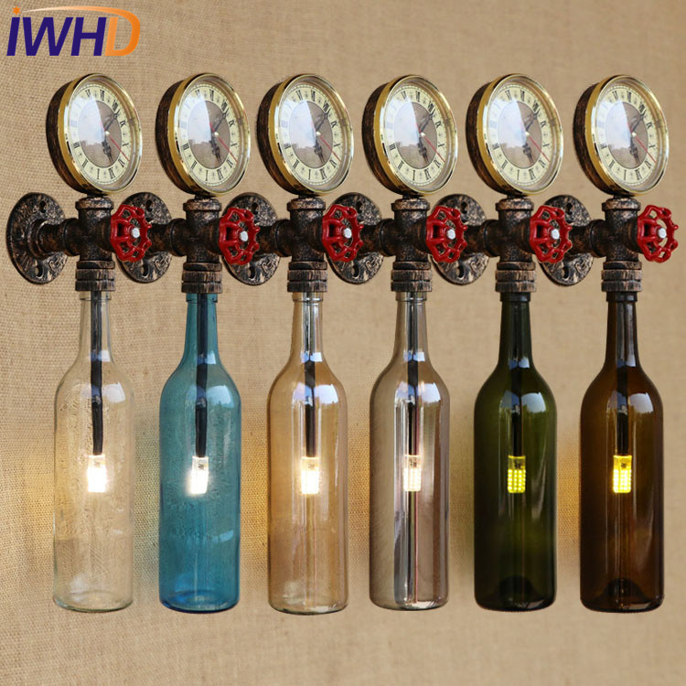 IWHD Loft Style Retro Iron Glass Bottle Water Pipe Wall Lamp Sconce Industrial Vintage LED Wall Light Fixtures Indoor Lighting iwhd iron water pipe loft led wall lamp rh retro industrial vintage wall light bedside fixtures home lighting indoor luminaire