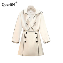 QoerliN Big Size/L-4XL Two Piece Blouse and Skirts Women Spring/Summer Suits White Sets Female Black Fashion Vintage 2 Pieces