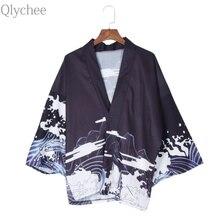 Qlychee Vintage Summer Tops Dragon Printed Harajuku Kimono Soft Women T Shirts