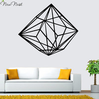 Geometric Diamond Line Wall Decal Vinyl Sticker Home Decor - Diamond Wall Art Mural Living Room Decals - Size 56 x 65 cm