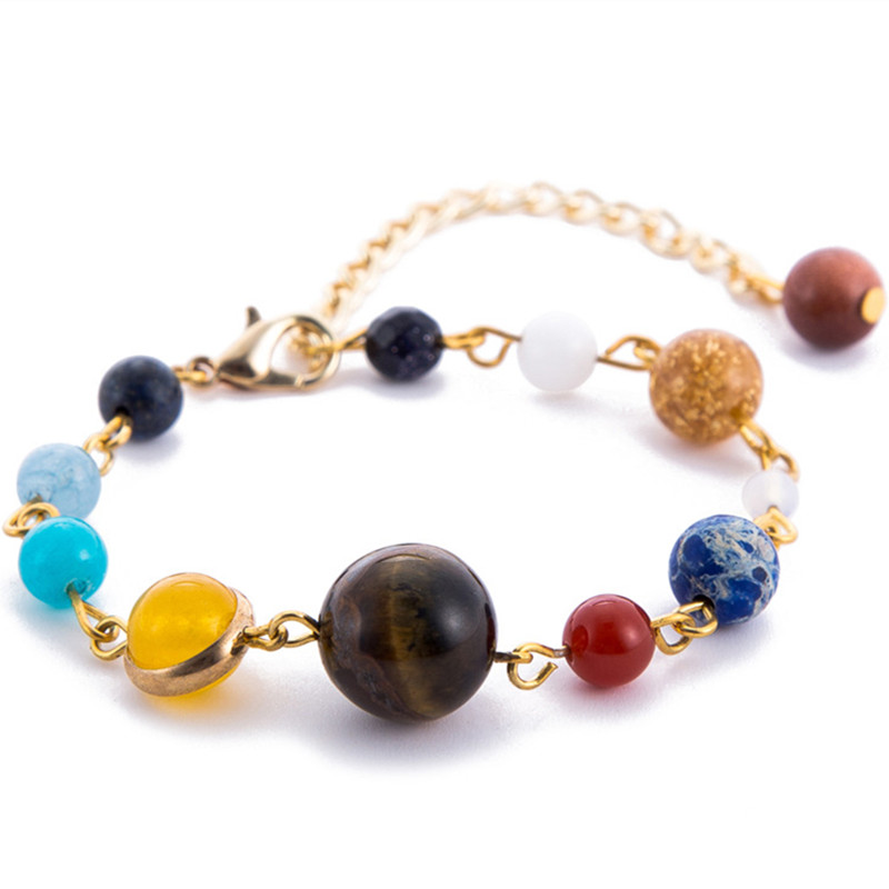 DIEZI Drop Ship the Eight Planets in the Solar System Universe Galaxy Guardian Star Natural Stone Beads Bracelet for Women Men
