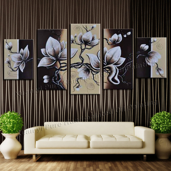 5 Panel Abstract Hand Painted Wall Painting Flower Picture Cuadros Decoracion Canvas Home Decor For Living Room Unframed XY177