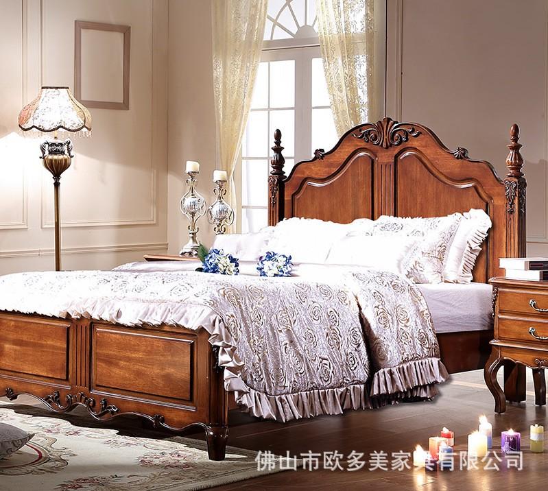 Modern American Solid Wood Rubberwood Bed Fashion Bedroom Set