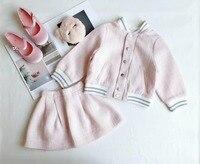 Baby girls clothing set pink spring autumn clothes set jacket +skirt 50 wool boutique kids costume