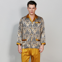Брендовые пикантные атласные шелковые Для мужчин пижамы Наборы для ухода за кожей с модным принтом в китайском стиле с длинными рукавами му