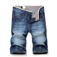 До Колен мужские сплошной цвет 100% Хлопок Прямые джинсовые шорты Новый летний мужской ежедневно случайные тонкий короткие джинсы размер 28-38