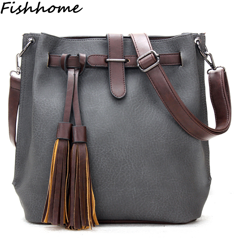 Women Bucket Bag 2017 Vintage Tassel Women Messenger Bag Female Brand Designer Handbag Feminina Crossbody Shoulder Bolsa LST271