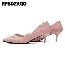 a46d8ae9475c4d Véritable cuir chaton taille 4 34 bout pointu 2019 Nude daim Court talons  hauts moyen formel rose bureau chaussures femmes marqu.