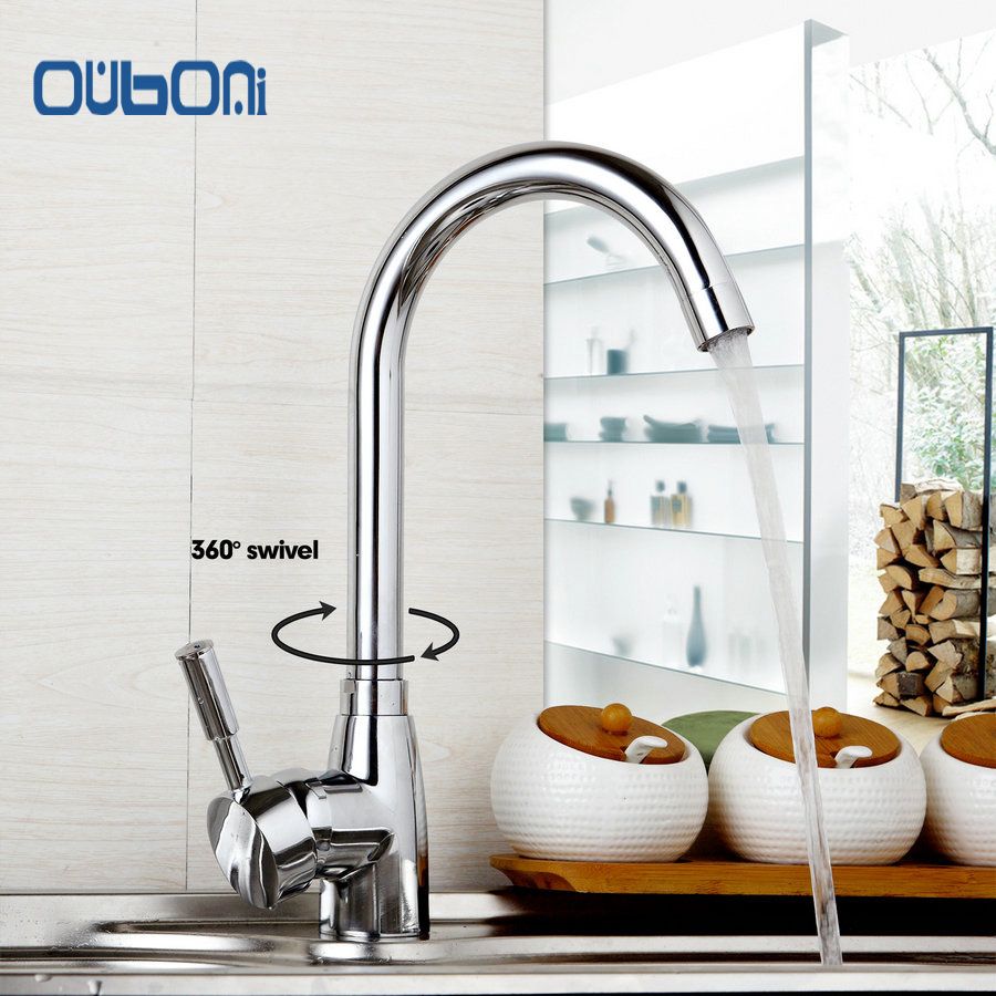 Polished Chrome Brass Kitchen Faucet Single Handle Hot and Cold Water Mixer Tap Deck Mounted Torneira